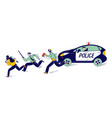police officer characters at work catching up vector image