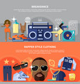 rapper and breakdance horizontal banners vector image vector image