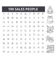 sales people line icons signs set vector image vector image
