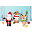 santa claus and reindeer on rooftops vector image vector image