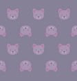 seamless pattern - cartoon white pink kittens on vector image vector image