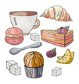 set for a tea party on a white background sweets vector image