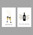 set happy new year greeting cards party vector image