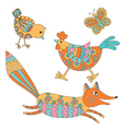 Set of animals - fox hend chicken and butterfly vector image