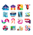 set of colorful paper style ribbon stripes and vector image vector image