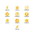 set of lightning logo template icon design vector image