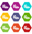 sneakers icons set 9 vector image vector image