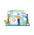 three male characters are working on website vector image vector image