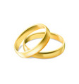 two gold engagement rings isolated on white vector image vector image