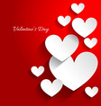 valentine day card with hearts in red background vector image vector image