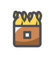 wall on fire burning house icon cartoon vector image