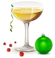 Full glass of champagne New year symbols vector image