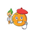artist orange fruit cartoon character