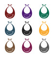 baby bib icon in black style isolated on white vector image vector image