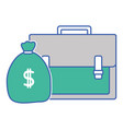 business briefcase object with bag money vector image