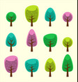 cartoon abstract tree park element colorful design vector image vector image