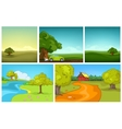 cartoon set of summer backgrounds vector image