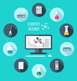 Chemical flat icon set Scientific banner vector image vector image