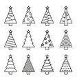 christmas tree line set vector image