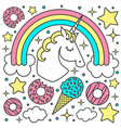 composition with unicorn and rainbow vector image vector image