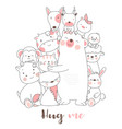 cute baanimals cartoon hand drawn style vector image vector image