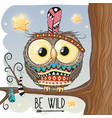 cute cartoon owl on a branch vector image vector image