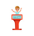 Cute little boy taking part at quiz show young vector image