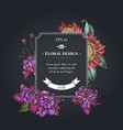 dark badge design with african daisies fuchsia vector image vector image