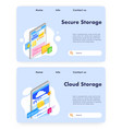 data storage website landing page template vector image