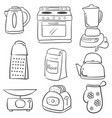 doodle of kitchen set hand draw style vector image