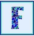 F - letter - Green Watercolor mosaic vector image