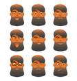 facial expression set young cartoon bearded man vector image