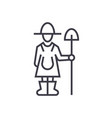 female farmer with shovel linear icon sign vector image