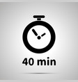 forty minutes timer simple black icon with shadow vector image
