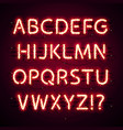 glowing neon red alphabet with glitter on dark vector image vector image