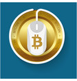 golden bitcoin white mouse blue background vector image vector image