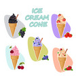 goth black charcoal ice cream in cone summer vector image