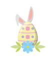 happy easter egg ears flower vector image vector image