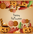 happy halloween card pumpkins basket with candy vector image vector image
