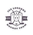 hockey team vintage emblem print vector image vector image
