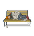 homeless man on bench pop art vector image vector image