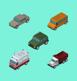isometric car set of first-aid freight autobus vector image vector image