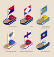 Isometric ships with flags of caribbean countries