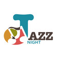 jazz night musical art poster vector image vector image