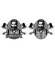 lumberjack woodmaster emblem with crossed axes vector image