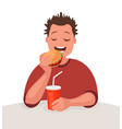 man is eating fast food concept unhealthy vector image vector image