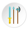 medieval weapons icon circle vector image