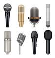 microphones realistic audio studio equipment for vector image vector image