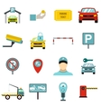 Parking icons set flat style vector image vector image