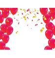 red balloons and confetti concept design vector image